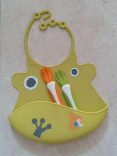 Silicone Baby Bib + Feeding Spoon