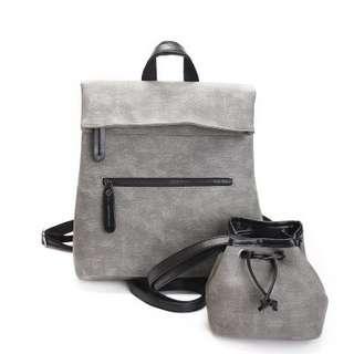 🚚 【Q夫妻】 backpack 韓版 兩件式 PU皮革 大容量 雙肩包 後背包 子母包 休閒包 女包 灰色 #B1507-1