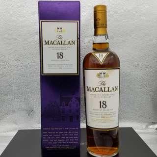 香港行貨 1992  Macallan 18年 威士忌酒 Whisky