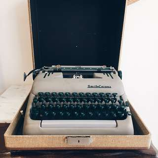 Vintage Smith Corona Super Silent Typewriter - Khaki/ Forest Green