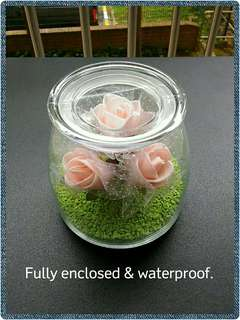 🚚 Pink Rose Arrangements in Glass Dome Jar with Lid
