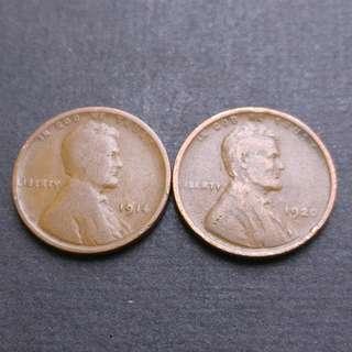 林肯美金一仙 硬幣2枚