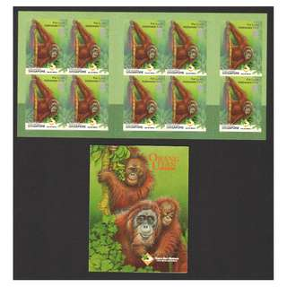 SINGAPORE 2001 CARE FOR NATURE ORANGUTAN BOOKLET OF 10 STAMPS SC#984a IN MINT MNH UNUSED CONDITION