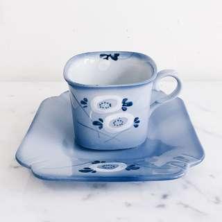 Vintage Blue Floral Square Teacup & Saucer