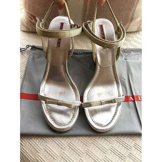PRADA   leather strap sandals wedges shoes  @ Made in Italy  Size 36 @ ....