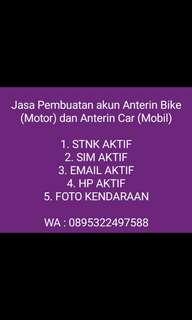 Jasa Pembuatan Akun Anterin Bike (Motor) & Anterin Car (Mobil)