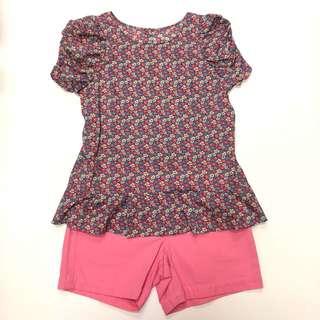 Twin set Jill Stuart flower top and haniiy pink short