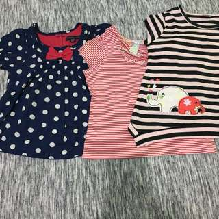 Take all 3 pcs atasan/kaos baby 12-18 bulan