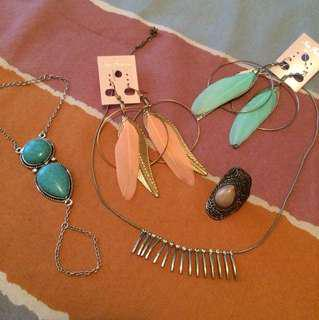 kalung, anting, gelang, cincin (set perhiasan)