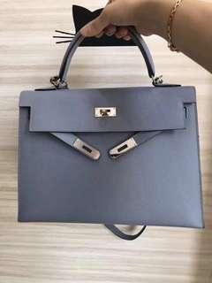 Hermès Kelly 32 灰藍色 Epsom 外縫