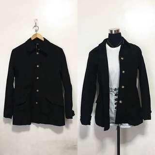 Marble-Buttoned Black Coat Jacket