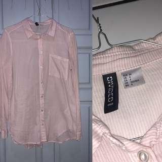 baju hnm kemeja pink putih salur h&m hm