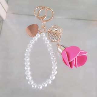 Free name engraving heart shape pendant and rose keychain
