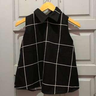 Collar top blouse kemeja tangan pendek