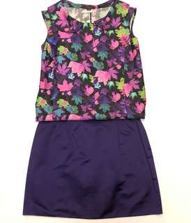 LV louis vuitton silk vest and prada purple silk skirt size 36 42