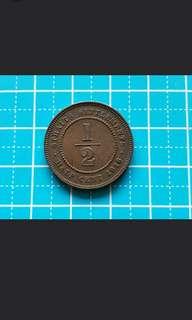 1916 Striat settlement king George v half cent coin