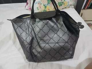 Longchamp metallic equistrian grid tote or bag