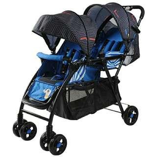 BN Baby Stroller/Twin, Double, Tandem, Black/Blue (Instock)