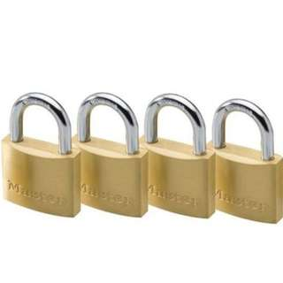 Tri-Circle Brass Padlock Luggage Lock Set 20mm x 4 pcs