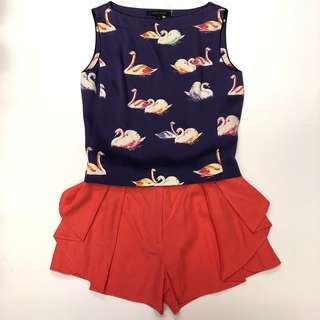 Marc Jacobs purple silk swans vest & see by chloe orange red shorts size 0 I38