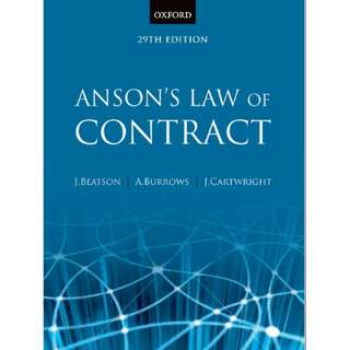 Anson's Law of Contract 29th Edition