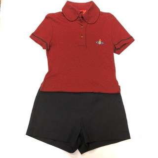 Vivienne Westwood red polo tee & missoni black shorts size L & I 42