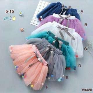 W-球球拼接紗裙褲