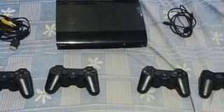 Playstation 3 with four controllers