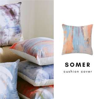 SOMER Plush Cushion Cover/pillow/red/ grey/ blue/ orange/ white/ art/ abstract/painting/ 45cm