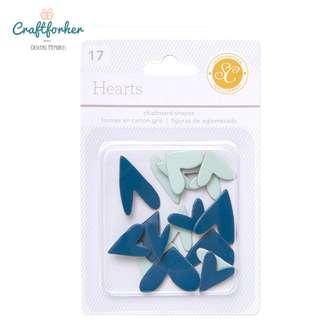 🚚 ★Chipboard★ 17-Piece Essentials Heart Chipboard Shapes, Blue/Aqua