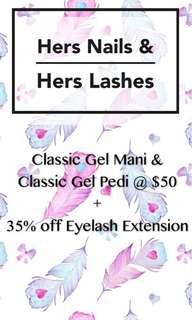 Gel mani pedi & eyelash extensions