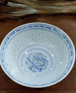 Blue and white transparent rice grain bowl