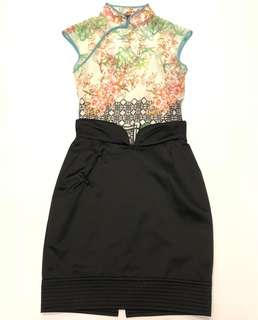 Vivienne Tam chinese style top & TC black skirt size P 2