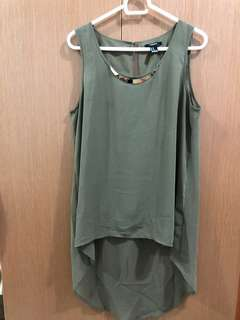 Forever21 Army green Long Back Top with Metal Hardware