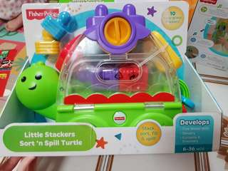 BNIB Fisher Price Little Stackers Sort & Spill Turtle
