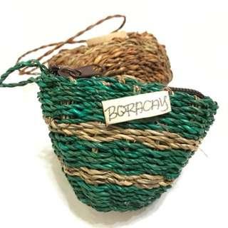 藤編零錢包(綠色)