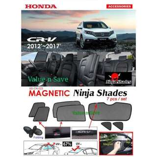Honda CR-V 2012 ~ 2017 Magnetic Ninja Sun Shade (7pcs/set) Premium Quality