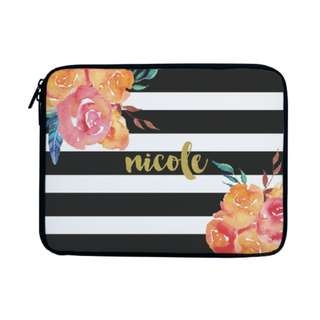 Personalized Laptop Sleeve Case Bag Stripes Floral Calligraphy Font