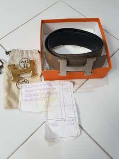 Reprice, Preloved Hermes H Buckle & Reversible Belt (Black & Taupe) Size 80cm 42mm