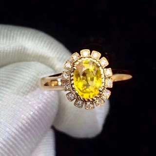 18K金 橘黃色黃藍寶戒指