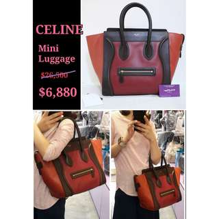 70% New CELINE 165213 Mini Luggage 紅色 牛皮 手提袋 肩背袋 手袋 Calfskin Handbag in Red