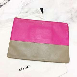 CELINE Bi-Color Zip Clutch