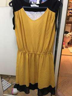 黃色連身及膝裙