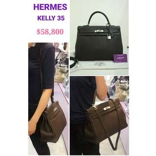 90% New HERMES Kelly 35 Clemence Leather Chololate Brown Handbag 深啡色 皮革 手提袋 銀扣 肩背袋 手袋