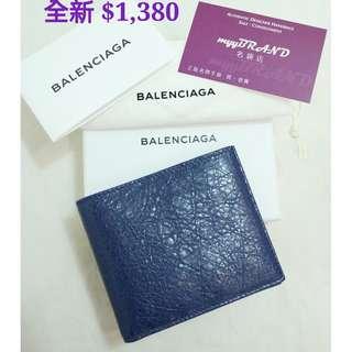 全新 BALENCIAGA 450374 Portefeuille Wallet 深藍色 短銀包 錢包 Portefeuille Wallet in Blue