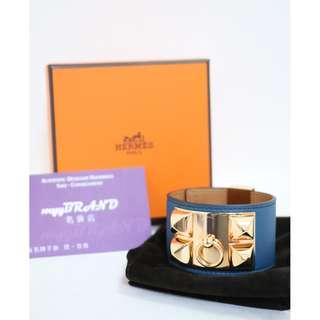 90% New HERMES CDC (S) Blue Swift 金扣 皮革 手鐲 Bracelet With Gold Hardware