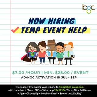 Temporary Event Helper & Ushers for Schools (Jul - Sep)