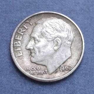 1962-D 美國銀幣10美分(Dime) 一枚