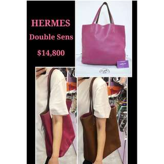 80% New HERMES Double Sens 45 Pueple x Brown 紫紅 x 啡色 兩面用 手袋 肩背袋 Leather Reversible Handbag
