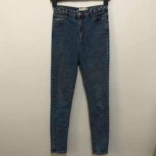 Studded High Waisted Pants/Jeans